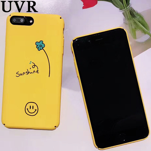 outlet store b8ad8 3d7af US $3.96 |UVR Cute Emoji Smile Face Sunshine Plants Yellow Coque Case Funda  for iPhone X 6S 7 8 Plus Matte Full Protection Back Cover Case-in Fitted ...