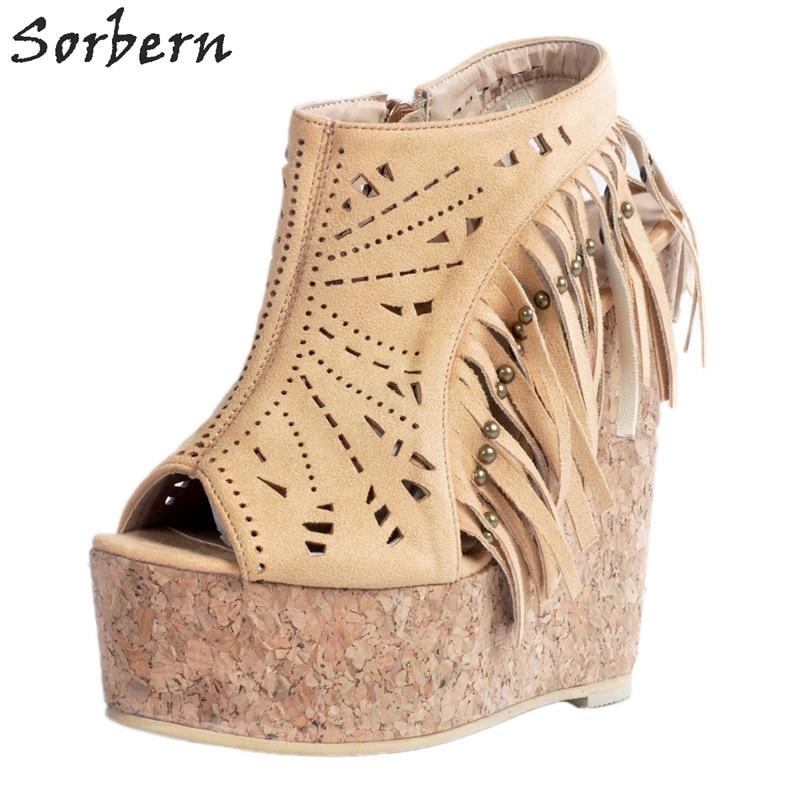 Femmes Sorbern Rivets Hauts À Sandales Sandales Compensées Chaussures Beige Talons wzASwqnC