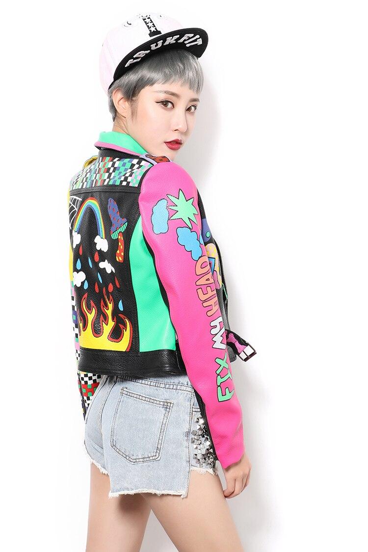 2019 Faux cuir vestes femmes Top tout nouveau printemps mode bonne qualité Rivets léopard dames rue femmes PU cuir veste - 4