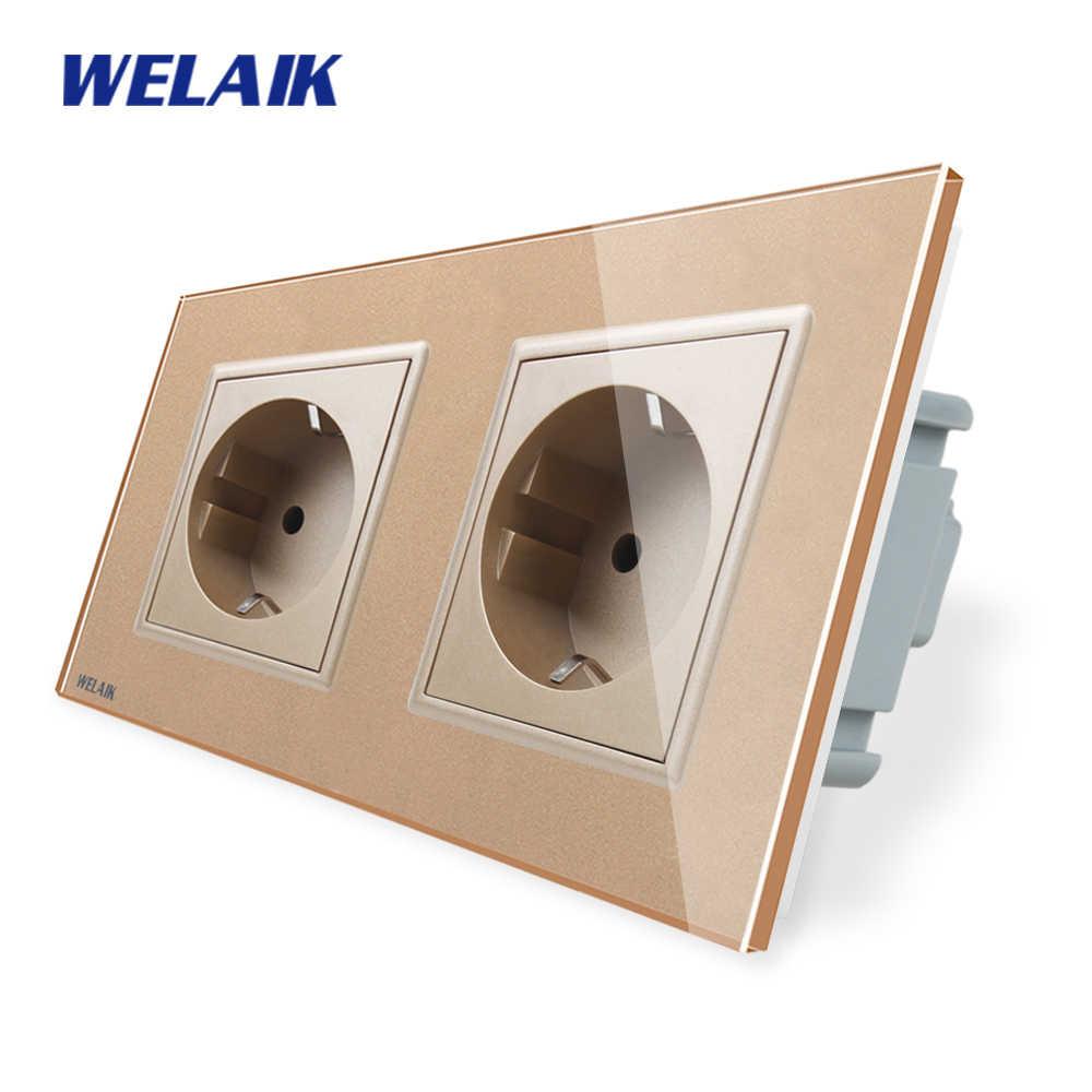WELAIK 2 cadre prise de courant Standard européen trempe-panneau de verre prise murale EU 16A AC110 ~ 250V A28E8EW