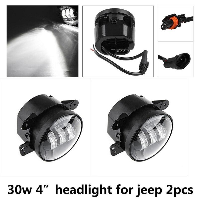 Пара 4 дюйма 30W светодиодные Противотуманные фары для Jeep Вранглер JK 07-15 авто светодиодный вождения проектор круглый Светильник 4 Лен прохождения света
