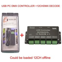 DC5 24V 12 channel DMX512 RGB LED Strip Controller DMX Decoder Dimme and USB DMX PC Controller