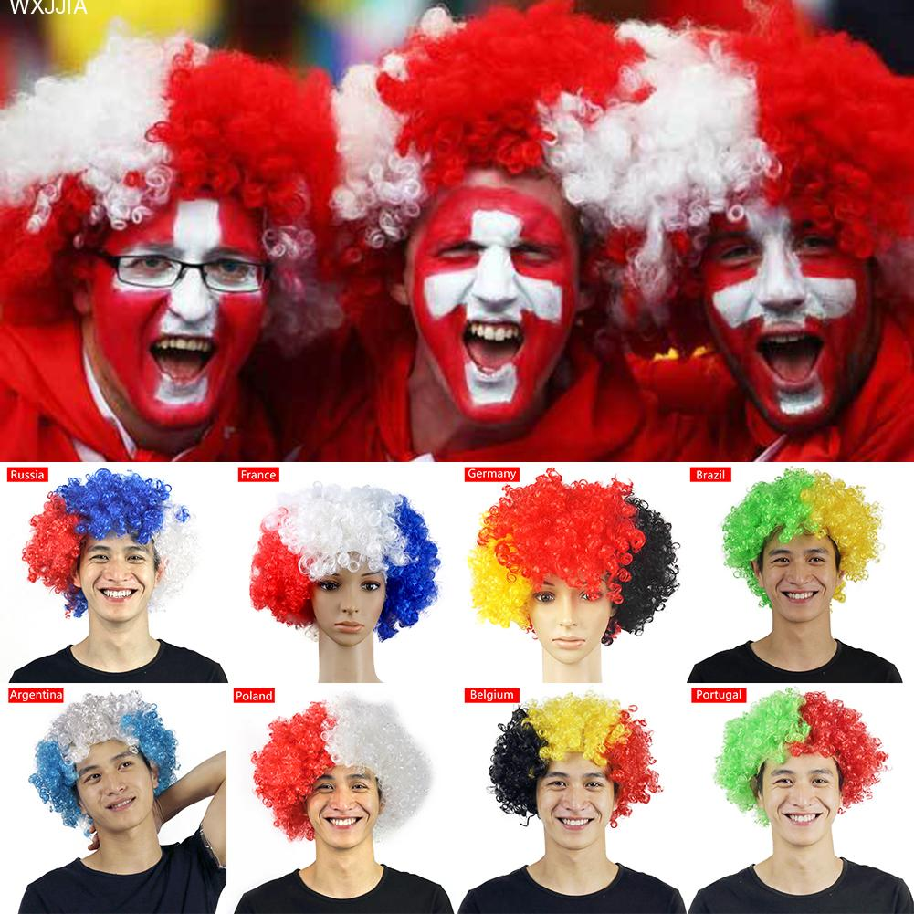 2018 Russia Football Game Flag Wig Wild-Curl Up Headdress Wig Fan Cheer Supplies Carnival Cheerleading Props