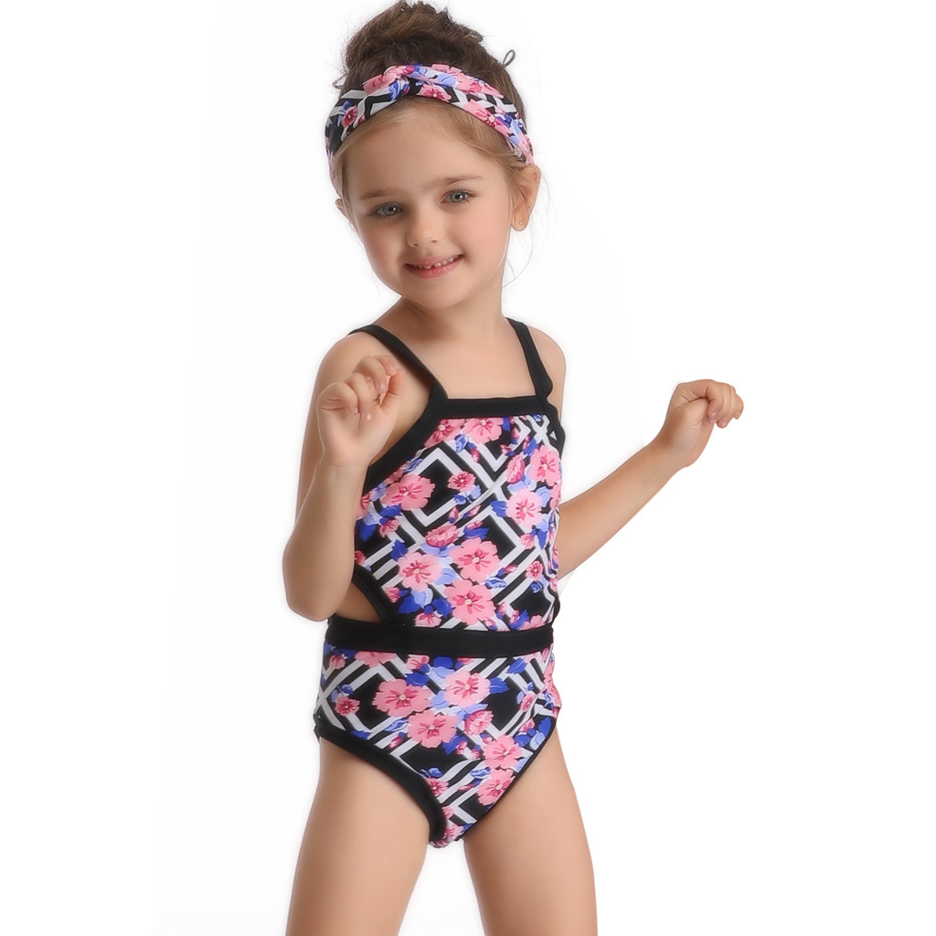 Competent Swimsuit Girls One Piece Swimwear Blackless Bandage Bodysuit Children Beachwear Sports Swim Suit Bathing Suit For 3t-6t Girls Sports & Entertainment