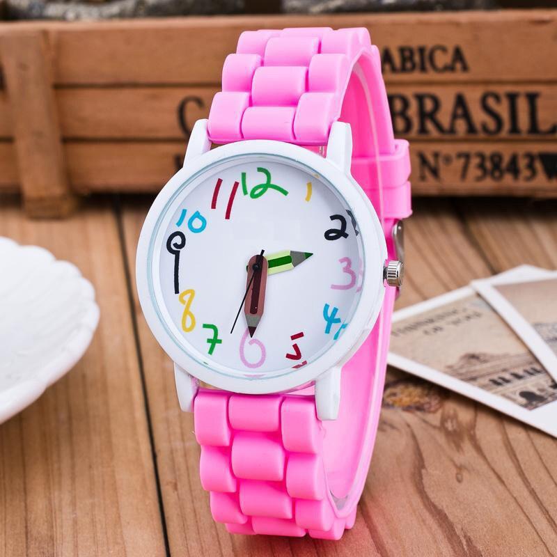 Silicone Watches Children Pencil Pointer Student Watch Quartz Wristwatches Gift Watches AIC88