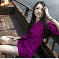 summer dress women lace vestidos female sexy sexy club dress bodycon party dresses purple water soluble  flower vintage dress