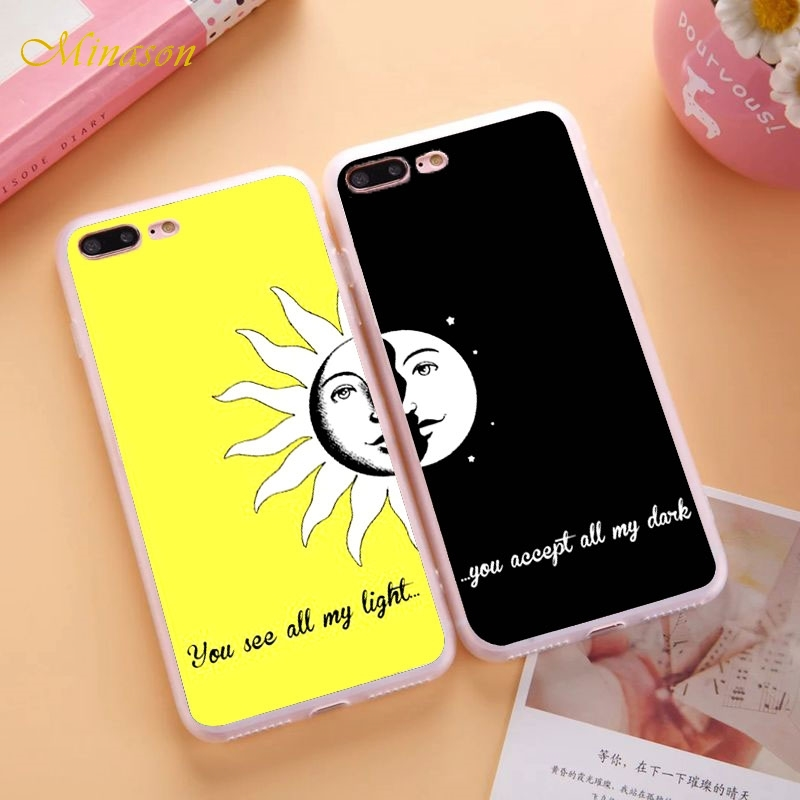 Couple BFF Case For <font><b>iPhone</b></font> X 8 <font><b>5S</b></font> XR XS Max SE 6 6S 7 Plus Sun and Moon <font><b>Best</b></font> <font><b>Friends</b></font> Soft Silicone Cover Capinha <font><b>Coque</b></font> image