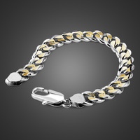 Wholesale 8/10 mm sterling silver chain bracelet. 100% Solid 925 Silver Men's / Boy Bangles Fashion Charm Gold silver jewelry