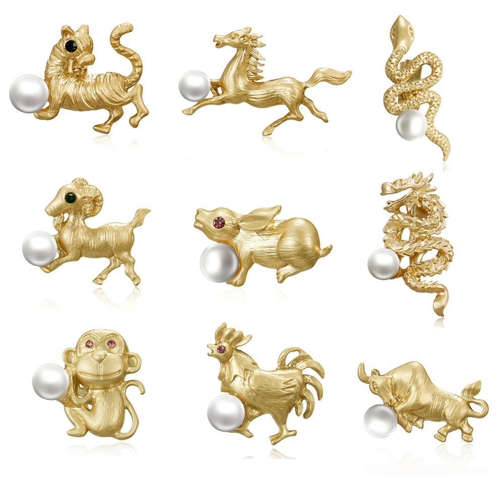 Fashion Cute Imitation Pearl Dog <font><b>Horse</b></font> Tiger Zodiac Animal Brooches Small Brooch Pin for Women Christmas Gift Jewelry image