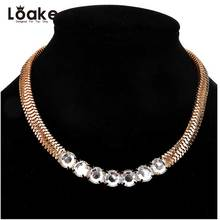 Loake Snake Chain Choker Necklace Gold Color Rhinestone Necklace Bohemia Style Big Maxi Statement Jewelry For Gift