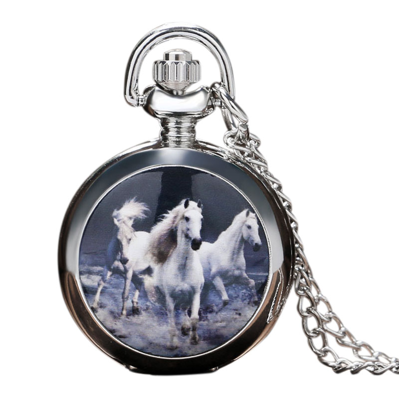 Three Horse Pocket Watch White Horse Pocket Watch Vintage Silver Large Pocket Watch