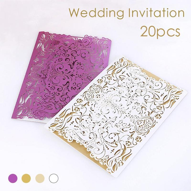 20Pcs White Pink Elegant Carved Embossed Flower Laser Cut Wedding Invitations Romantic Invitation Cards L35 colorful white ribbons bow laser cut wedding invitations set blank paper insert romantic printing invitation cards kit
