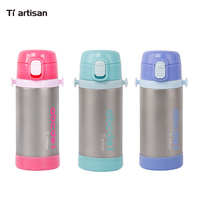 Tiartsian Outdoor children's kettle portable titanium sports baby vacuum bottle, with a straw bottle throw back teapot