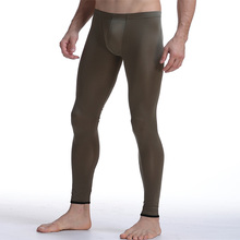 2017 New Mens sexy sheer smooth Underpants Slim fit Low-waist Male Nylon Leggings Ultra-thin Long johns