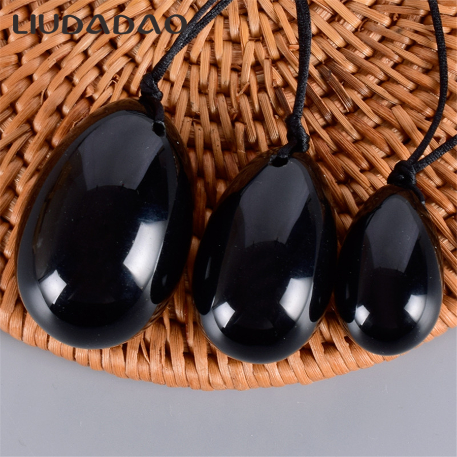 Small Large Yoni Eggs Jade Drilled Black Obsidian Vaginal Tightening Body Relax Massager Tools Women Yoni Eggs Health Tools
