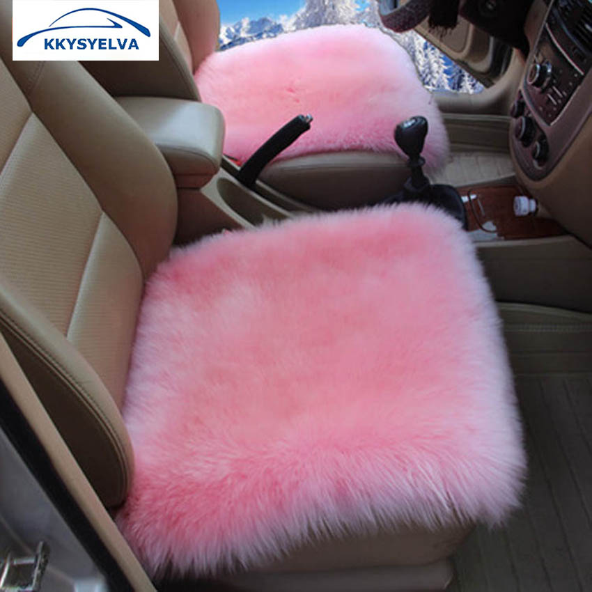 KKYSYELVA Universal Car Seat Cover Pink winter Auto Wool Driver Seat Cushion Plush Seat Pad Wool Mat for home office Chair mat бейсболка crooks & castles threats snapback white black o s page 5