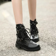 New Fashion Women Black Boots Punk Gothic Style Lace up Belts Round Toe High Quality Female Shoes Short