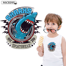 Nicediy Small Fashion Retro Shark Iron On Transfers For Clothes Heat Transfer Vinyl Sticker Printing Patch T-shirts Applique