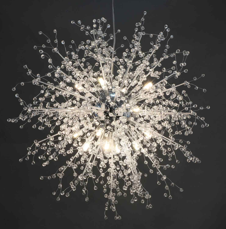 Gdns Chandeliers Firework Led Light Stainless Steel Crystal Chandelier Lighting Globe Living Room Bedroom Restaurant Dining
