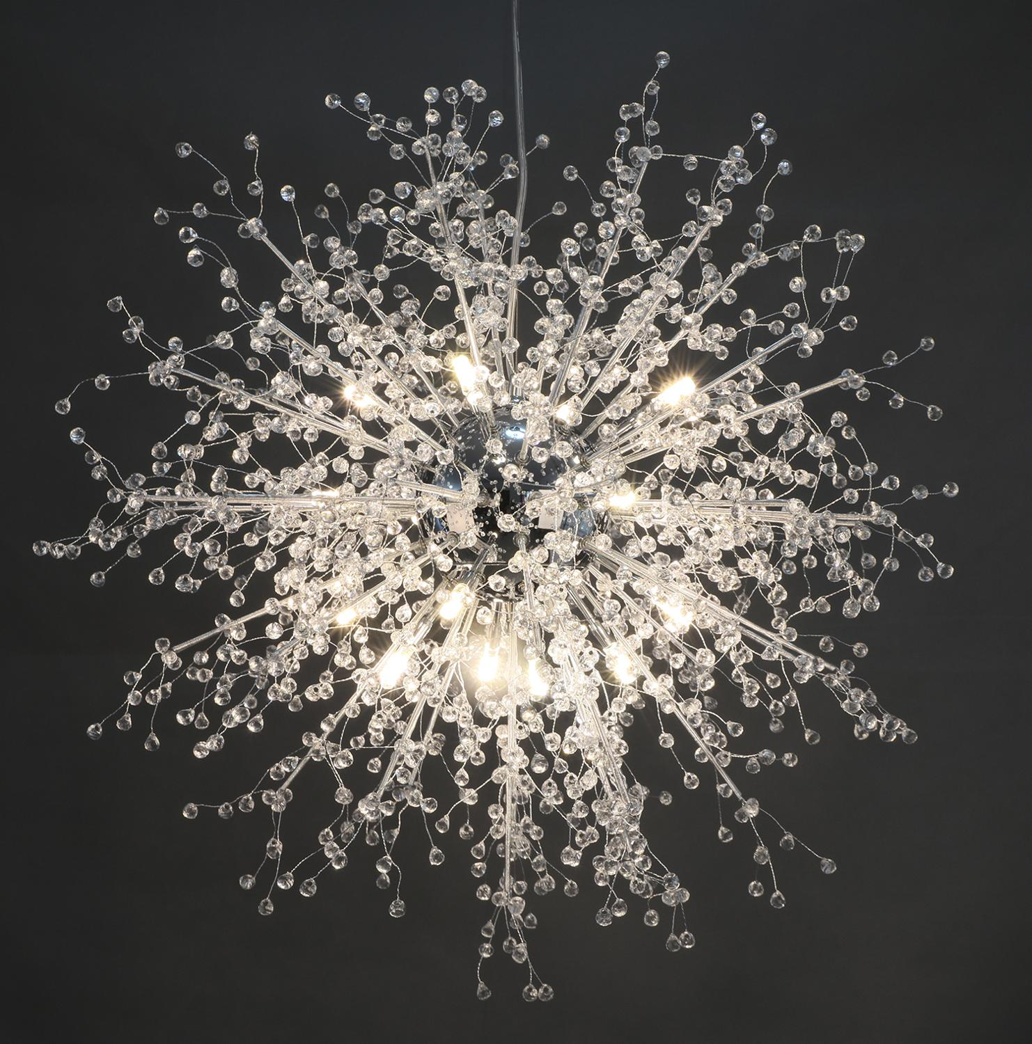 GDNS Chandeliers Firework LED Light Stainless Steel Crystal Chandelier Lighting Globe Living Room Bedroom Restaurant Dining Room