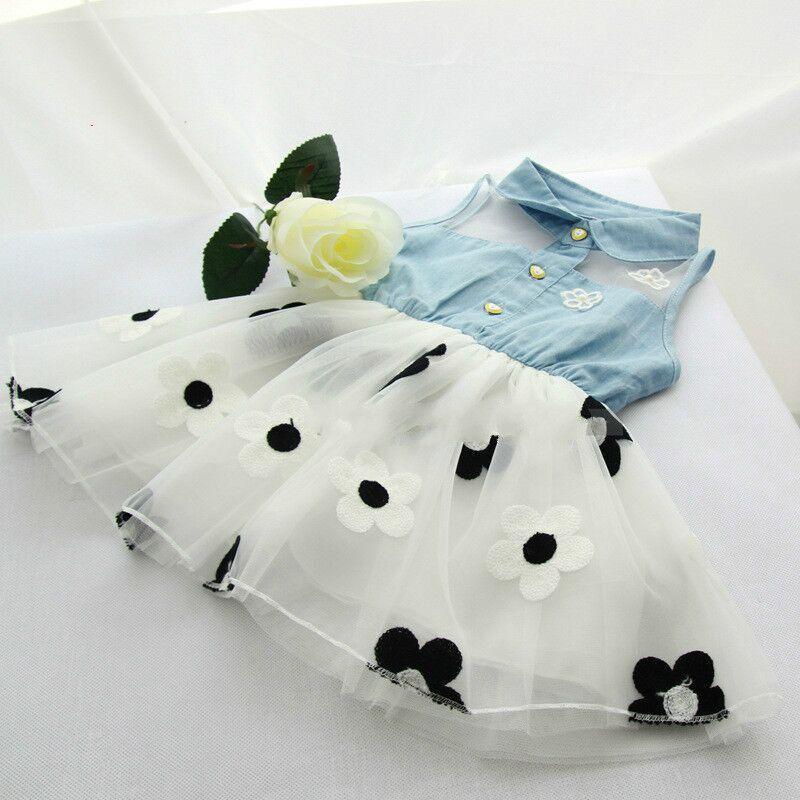 2018 Summer Children Baby Girls Dresses Infant Korean Slim Flower Dress Cowboy Top Coat Lace Side