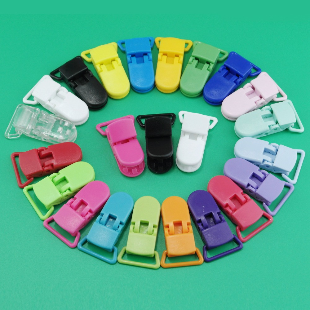 20pcs Black 25mm KAM Plastic Pacifier Dummy Clip Holder T-Shape Fit 25mm Ribbon