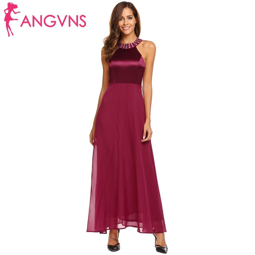 ANGVNS Women Satin Chiffon Party Long Dress Elegant Cold Shoulder  Sleeveless Rhinestones Collar Maxi Dresses Evening Vestidos-in Dresses from  Women s ... 30bd5bbcb766