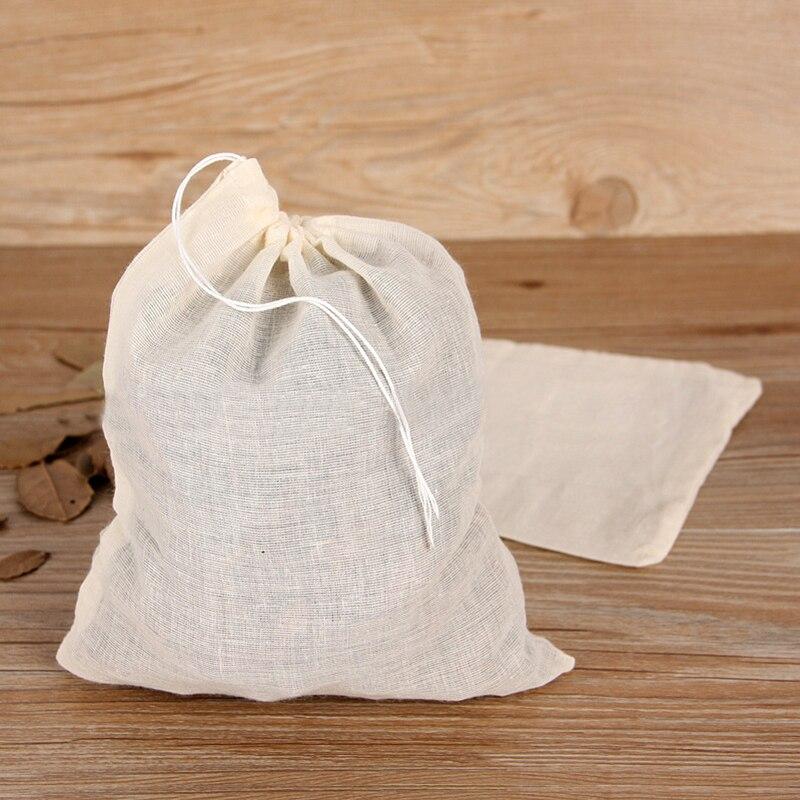 10 pcs NEW Cotton Muslin font b Drawstring b font Strainer Tea Spice Fruit Juice Food