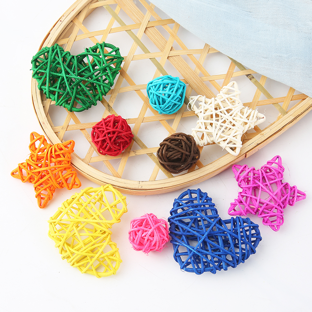 5Pcs Multicolor Rattan Ball Round/Heart/Star Takraw DIY Decoration Supplies For Wedding Home Garden/Birthday/Party Decor