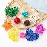 Takraw-suministros de decoración de bricolaje para boda, hogar, jardín, cumpleaños, fiesta, 5 uds., Bola de ratán Multicolor REDONDA/corazón/estrella