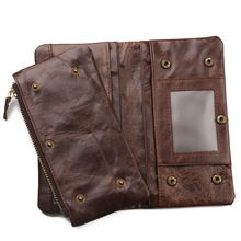 Wholesale 100% Genuine Leather Wallets Brand Vintage Wallet Femal Long Luxury Coin Pocket Credit Card Holders