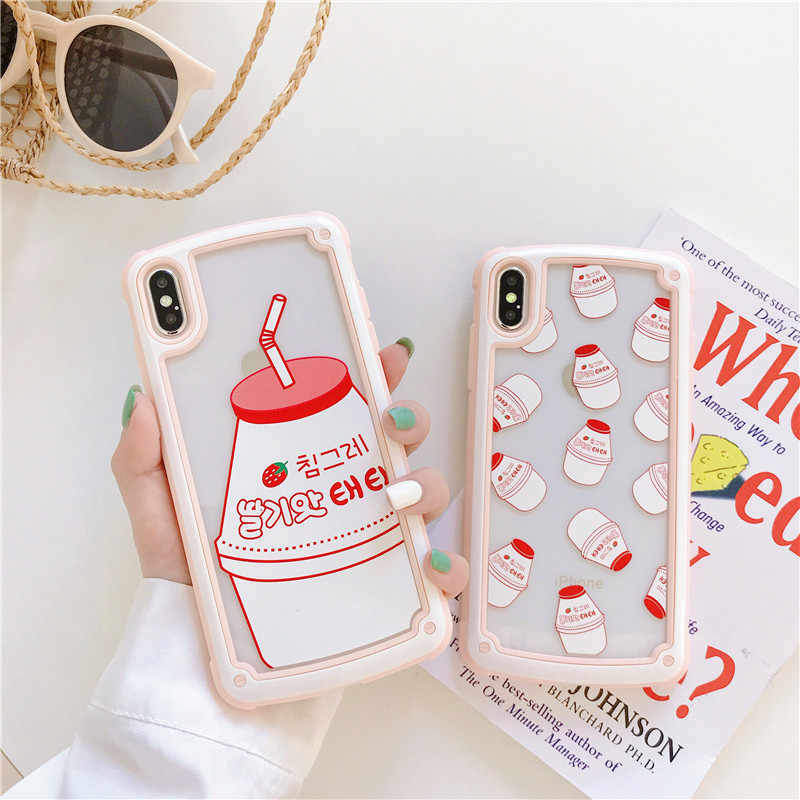 Popular Linda Coreana Binggrae Garrafa de Bebida De Leite De Banana Phone Cases Para Apple Iphone 6 6 s 7 8 Plus X XR XS MAX Tampa Transparente