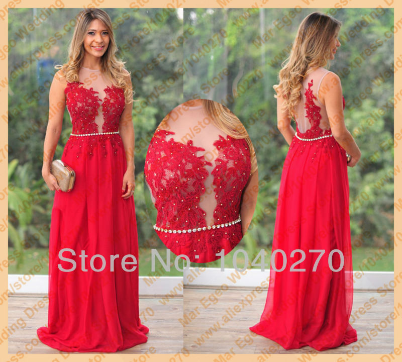 Aliexpress.com : Buy Classy Red Lace Beading See Through Chiffon A ...