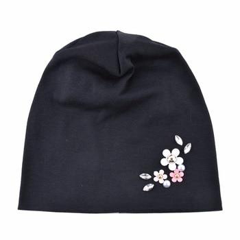 Solid Color Hat For Women Rhinestone Flower Beanies Skullies Ladies Elegant Beanie Cap Female Spring Autumn Bonnet Gorras Chapeu 2