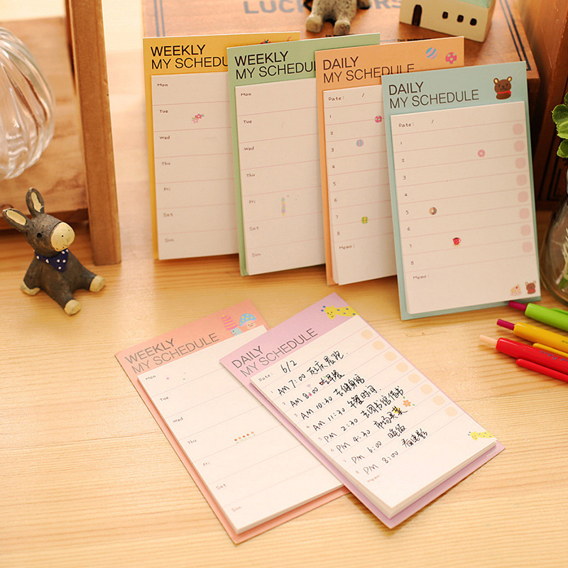 Kawaii stationery Weekly Daily Plan Mini Memo Pad Notes School Office Supply Sticker Post It Planner Check List Decoration