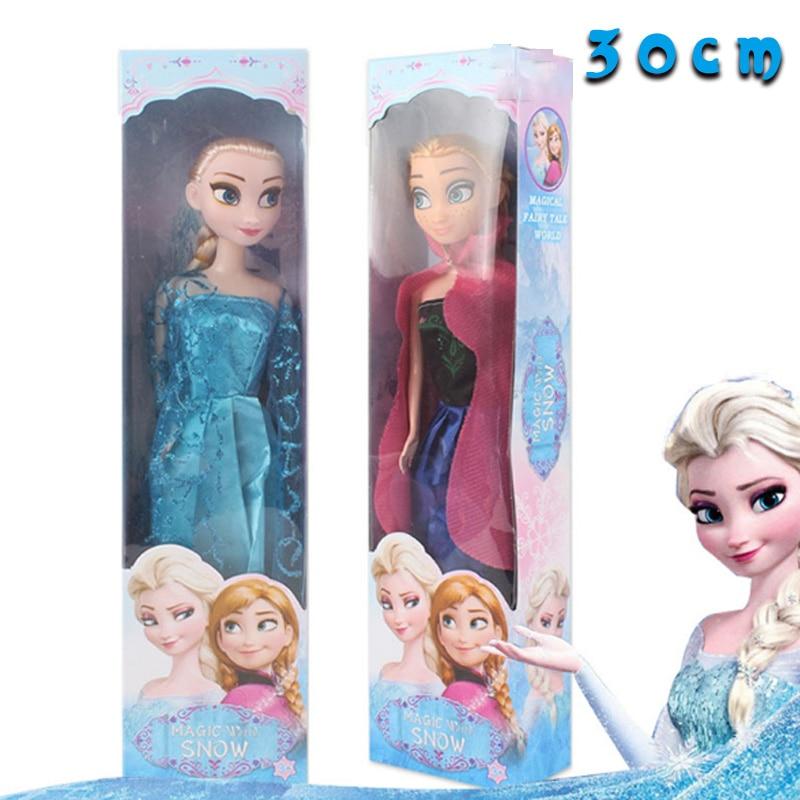 30cm Original Box High Quality Anna And Elsa Boneca Elsa Doll  Fever 2 Princess Clothes For Dolls Figures Girls Toys Children