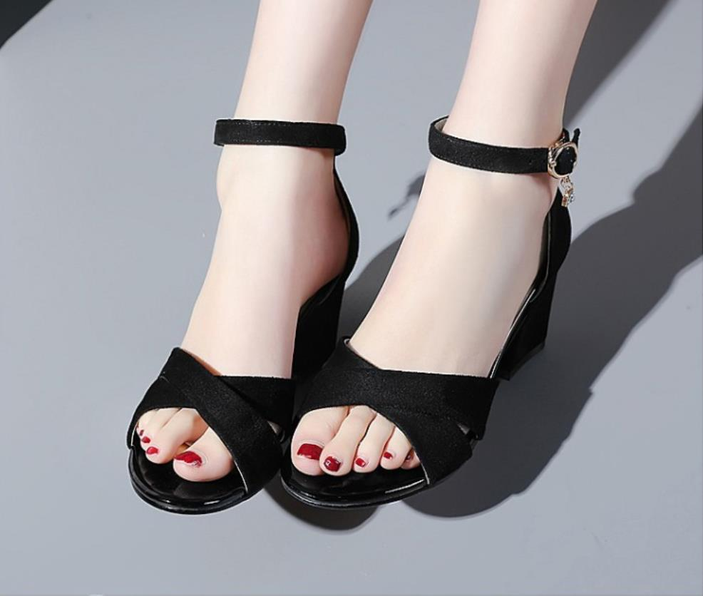 Small size 33 bags with sandals female summer high heels thick with wide  feet fat feet