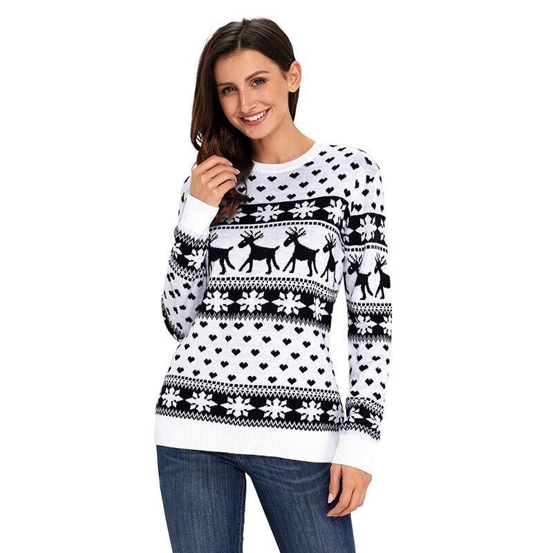 2a96d4e8984b SEBOWEL Navidad mujer Reno copo de nieve patrón de suéter feo jerseys 2019  otoño e invierno Navidad suéteres para femenina en Pullovers de La ropa de  las ...