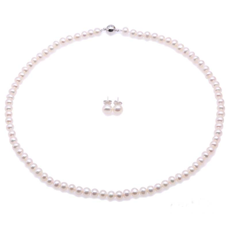 White Akoya Cultured Pearl Silver Pendants d/'oreilles AA
