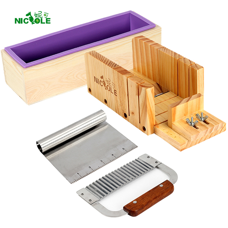 Silicone Soap Mold Soap Making Tool Set 4 Wooden Loaf Cutter Box with 2 Pieces Stainless