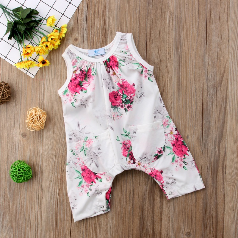 Sleeveless Toddler Baby Girls Summer Floral Romper Jumpsuit Playsuit Clothes Baby Girl Printed Fly Sleeve Romper Pocket White