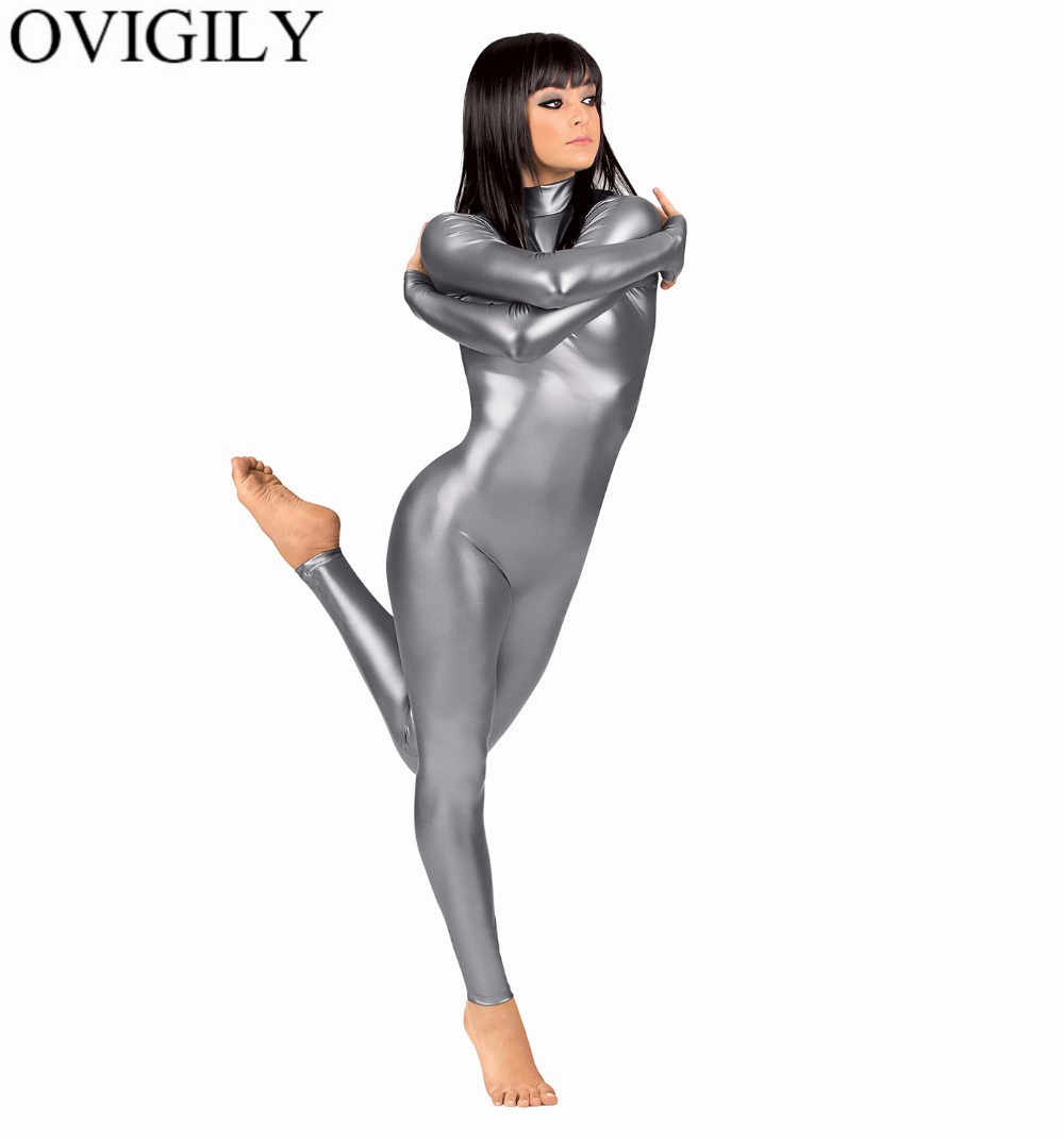 OVIGILY Phụ Nữ của Đầy Đủ Cơ Thể Phù Hợp Với Trang Phục Spandex Nhảy Múa Ba Lê Thể Dục Dụng Cụ Catsuit Dành Cho Người Lớn Màu Đen Dài Tay Áo Shiny Kim Unitard