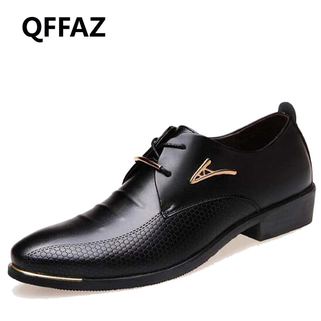 Qffaz Новый Модные свадебные туфли Для мужчин острый носок Обувь шнурованная для женщин Человек платье Обувь кожаная для девочек официальная Мужская обувь Большие размеры 38-48