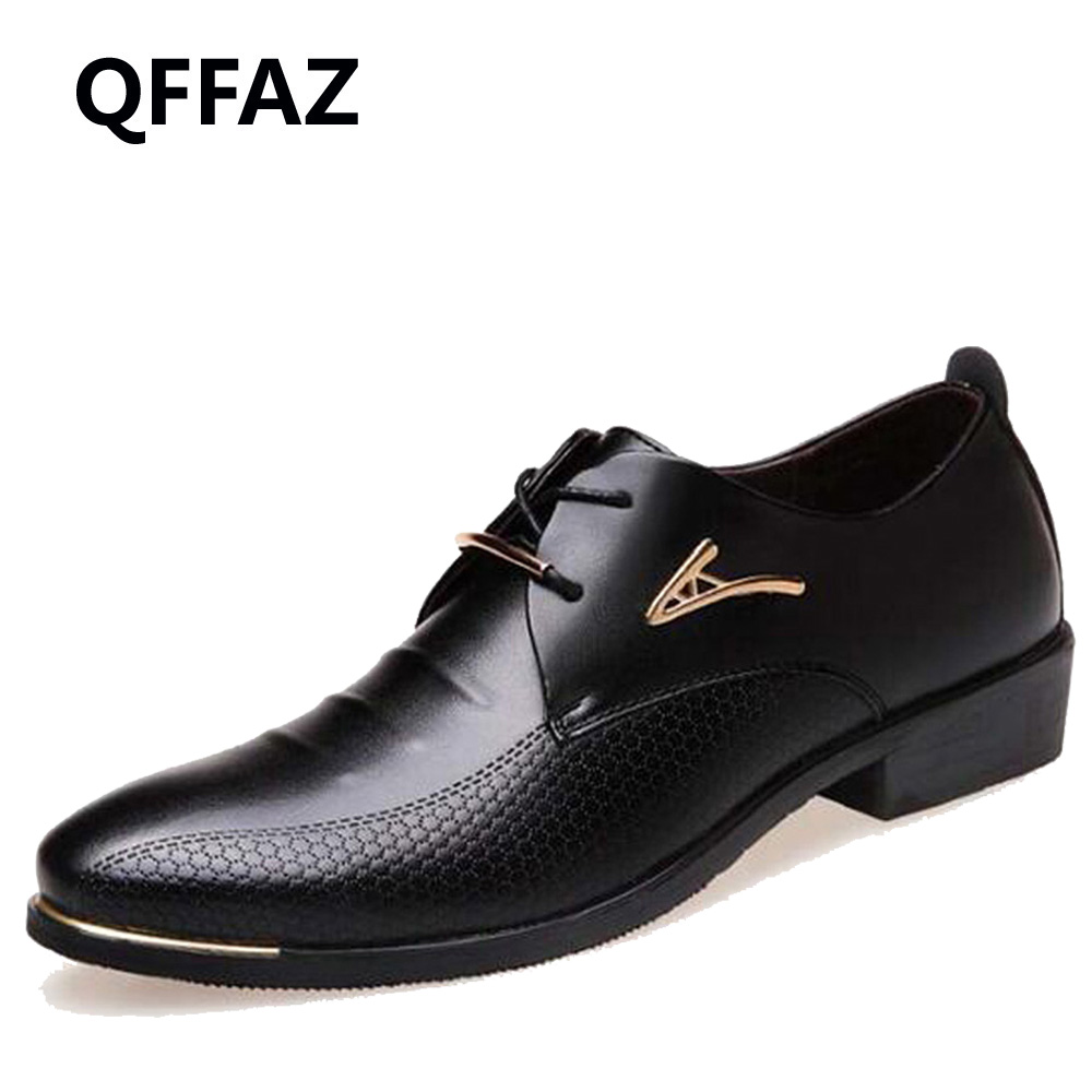 QFFAZ New Fashion Wedding Shoes Men Pointed Toe Oxfords Man Dress Leather Shoes Formal Zapatos Hombre Big size 38-48 patent leather men s business pointed toe shoes men oxfords lace up men wedding shoes dress shoe plus size 47 48