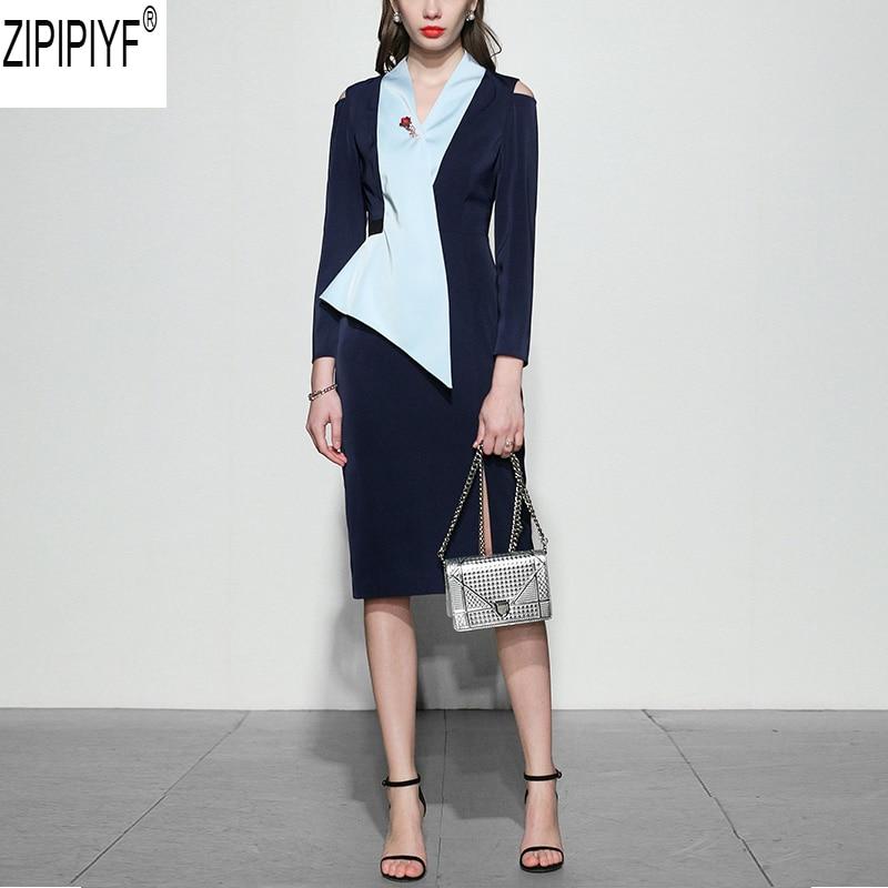 Kadın Giyim'ten Elbiseler'de 2018 Moda Tasarımcısı Pist Elbise Sonbahar Kadınlar Uzun kollu V Yaka Patchwork Bölünmüş Zarif Diz Boyu Kalem Elbise C2873'da  Grup 1