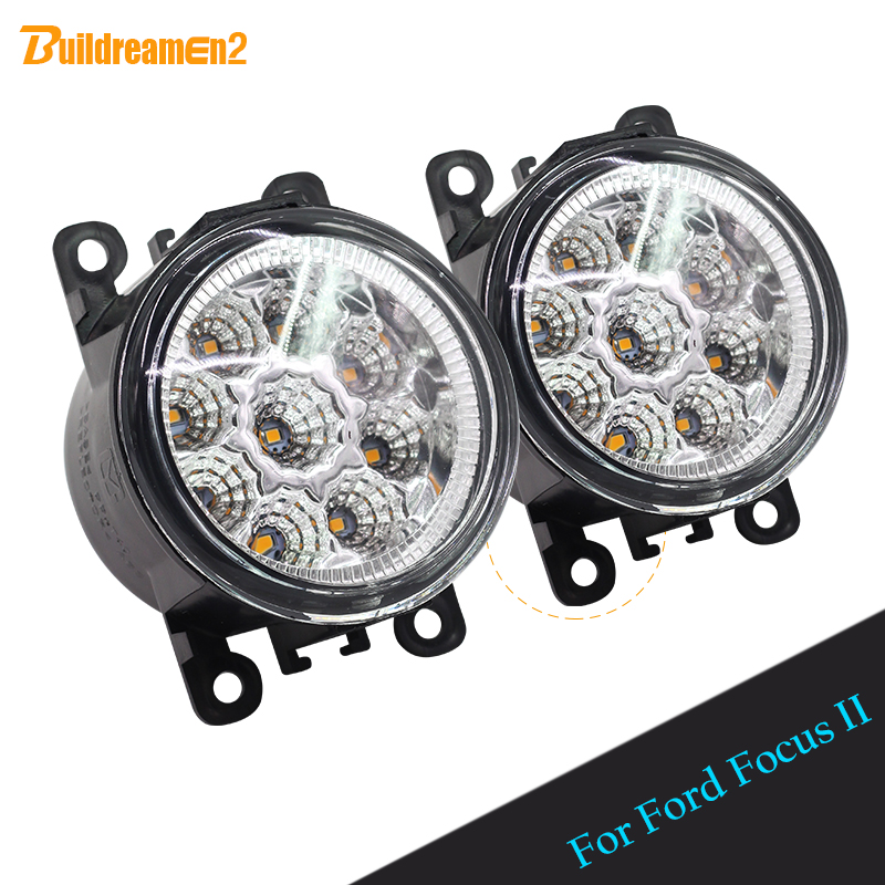 Buildreamen2 For Ford Focus II 2 Pieces Car LED Light Lamp Front Fog Light Daytime Running Light DRL White Yellow Blue 12V DC tasmanian tiger leader admin pouch
