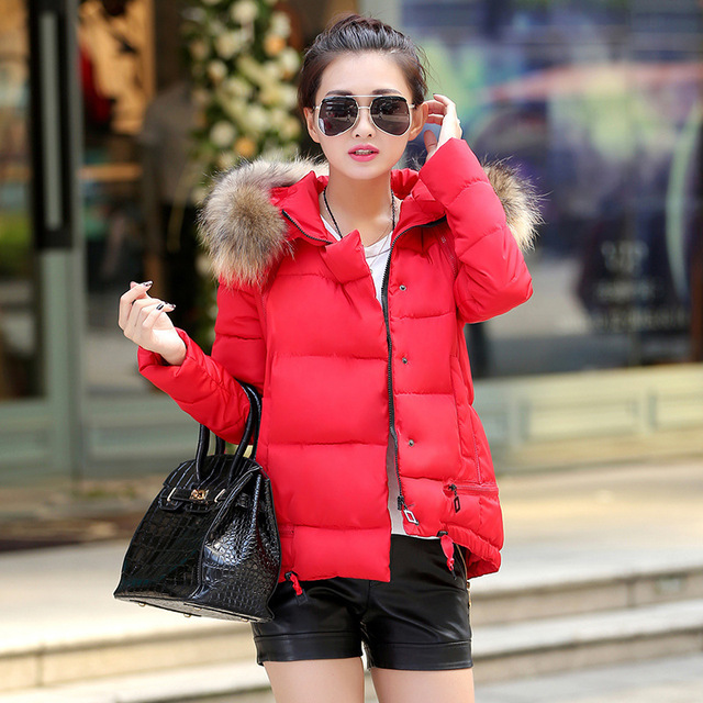 362509c90cc 2015 new women winter coat female short fur callor hat slim red black  winter jacket women down parka coat