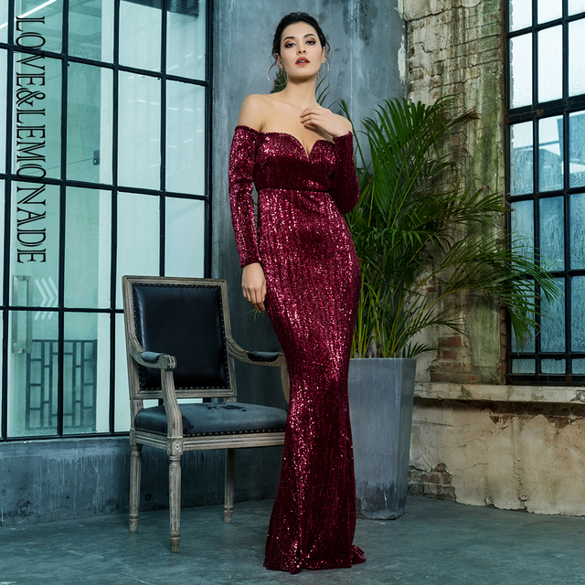 Love Lemonade Wine Red Deep V-Collar Long Sleeve Elastic Sequin Material  Long Dress LM80273WINERED 15febabce6bc