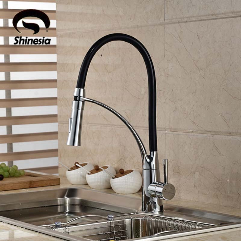 Black and Chrome Finish Kitchen Faucet Deck Mount Pull Out Dual Sprayer Nozzle Hot Cold Water Kitchen Sink Faucet Mixer Taps профессиональный усилитель мощности crown dci 4 300