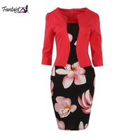 Fantaist Wholesale Women S Appeal Three Quarter Sleeve Office Dress Floral Print One Piece Patchwork Bodycon
